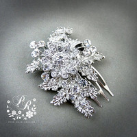 Unique Flower Rhinestone & Crystal Bridal hair tiara comb Wedding Hair accessory