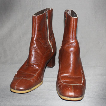 Mens Vintage 60s MOD LEATHER BOOTS / Honey Brown Ankle Boots / Beatle Boots, Chelsea Boot / Groovy / Size 10.5 us, 44 eu, 10 uk, 10 aus