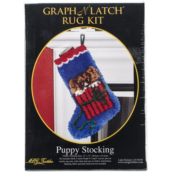 "Puppy Stocking Latch Hook Kit 12""X17"""