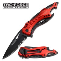 TAC Force TF-705RD Assisted Opening Tactical Folding Knife, Black Half-Serrated Blade, Red Handle, 4-1/2-Inch Closed