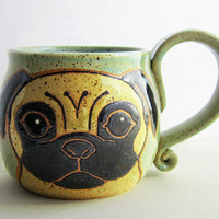 Pug Mug Pottery, christmas gift, ceramic mug, handmade pug dog, pug art, animal art, dog mug, holds 13 oz, microwave and dishwasher safe.