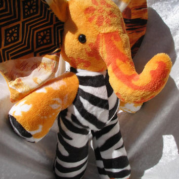 Stuffed animal ELEPHANT plush soft TOY elephant baby shower stuffed elephant nursery ZEBRA elephant decor handmade Honey bee elephant orange