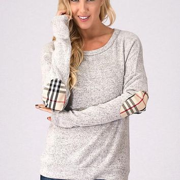 Plaid Elbow Patch Top - Gray