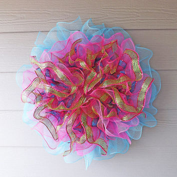 Pink Blue and Green Deco Mesh Ruffle Wreath