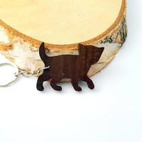Wooden Kitten Keychain, Walnut Wood, Animal Keychain, Cat Keychain, Environmental Friendly Green materials