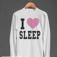 I Heart Sleep (long sleeve)-Unisex White T-Shirt
