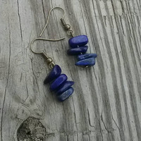 Blue lapis dangle earrings. Gemstone dangle earrings. Simple earrings. Blue earrings.