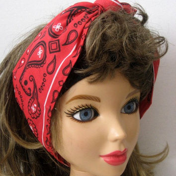 Hair Bandana, Knotted Headband, RED Bandana, Wide Head Band, Pin Up HairBand, Hair Scarf, Bohemian HairBand, Hair Bandana,   #218