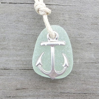 Pale Mint Green Sea Glass Anchor Nautical Necklace by WaveofLife