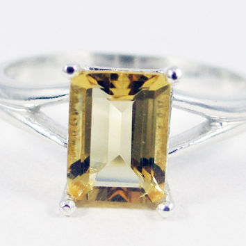 Citrine Emerald Cut Ring Sterling Silver, November Birthstone Ring, Golden Citrine Ring, Yellow Citrine Ring, Emerald Cut Citrine