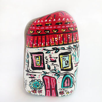 Decorative house handpainted stone for home and office decoration