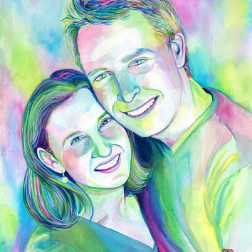 Couple custom PORTRAIT for PAPER ANNIVERSARY - Commission unique watercolor
