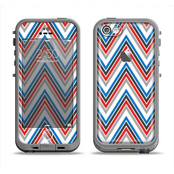 The Red-White-Blue Sharp Chevron Pattern Apple iPhone 5c LifeProof Fre Case Skin Set