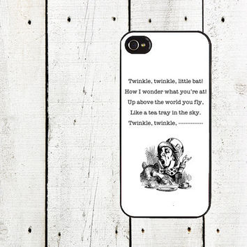 Alice in Wonderland iPhone case, Mad Hatter Twinkle Twinkle Little Bat - iPhone 5 Case - iphone 4,4s - Gifts Under 25