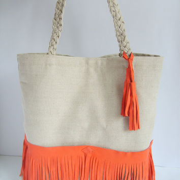 Natural linen and natural suede fringe tote bag, braid, tangerine tango,
