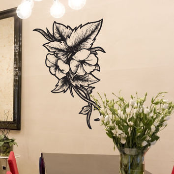 Vinyl Wall Decal Sticker Wood Burn Flowers #1188