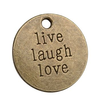 20 Pieces Live Laugh Love Inspirational Medallion Charm Findings for Pendant Necklace Making 20mm