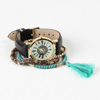 Feather Radial Watch And Bracelets Set