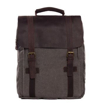 BLUESEBE UNISEX WAXED CANVAS WITH LEATHER BACKPACK 1820-DG