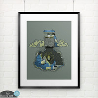 Nightlights and Oven Mitts - matted art print.  5x7 or 8x10. A cute monster art print.