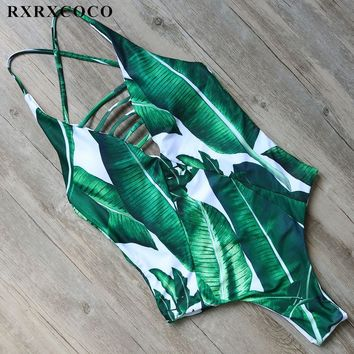 RXRXCOCO Sexy Hollow Swimsuit Women One Pieces Swimwear Push Up Monokini Halter Bandage Swimming Suit Leaf Printed Bathing Suit