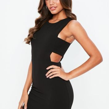 Missguided - Black Sleeveless Cut Out Side Bodycon Dress