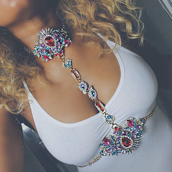 2017 Hot Sale Sexy Women Body Chain Charm Exaggerated Luxury Crystal Waist Chain Statement Jewelry For Women wedding decoration