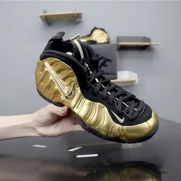 d5434ed958f Nike Air Mens Foamposite Pro Hardaway Gold Black Sneaker