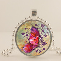 Purple and pink Butterfly glass and metal Pendant necklace Jewelry.
