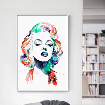 Watercolor Marilyn Monroe Canvas Posters and Prints Canvas Art Painting Wall Art Decorative Pictureb for Living Room Home Decor