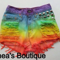 The Shredded Rainbow Frayed Shorts by SheaBoutique on Etsy