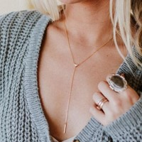 Opal Triangle Lariat Necklace - Gold