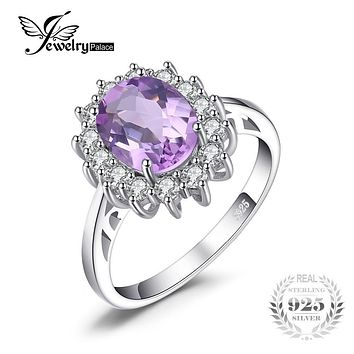 JewelryPalace 2.3ct Oval Natural Amethyst Ring 925 Sterling Silver Brand Charm Princess Diana Engagement Rings For Women Jewelry