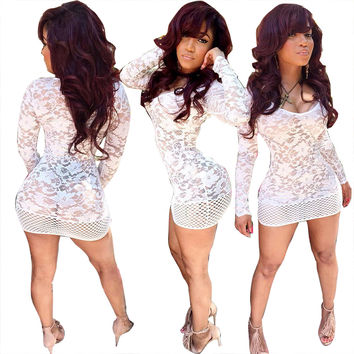 White Flower Lace Mini Dress
