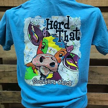 Southern Chics Watercolor Cow Herd That Girlie Comfort Colors Bright T Shirt