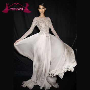 Sexy Silver Prom Dresses Long Sleeve Bateau Beading Chiffon Backless Court Train Formal Dress