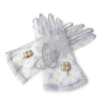 Sheer Lace Gloves, Grey Lace Gloves, Bridal Lace Gloves, Roaring 20s Party, 20s Gloves with Pearl and Rhinestone Jewelry