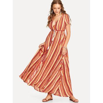 Tassel Tie Shirred Waist Striped Dress