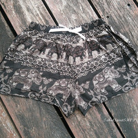 Black Elephant Print Hippie Exotic Summer Beach Shorts Boho Tribal Clothing Aztec Ethnic Bohemian Ikat Boxers Cotton Rayon Cute Comfy Women