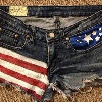 Sirrah's Closet — Custom American Flag Jean Shorts