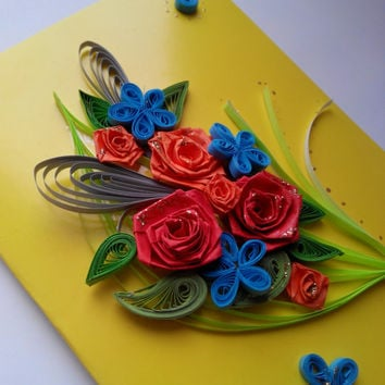Handmade Greeting Card - Paper Quilled Card - Quilling Flowers