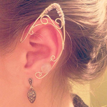 Individual elf ear cuff wire wrapped in silver