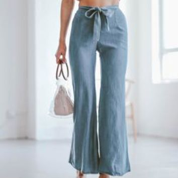 'Lauren' Flared Chambray Pants