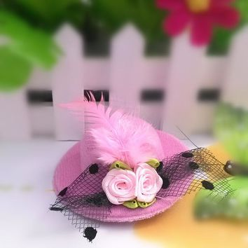 Children Flower Feather Party Cap Hairpins Festival Hat Hair Clip Hair Accessories Baby Barrettes for Kids Girl birthday gift