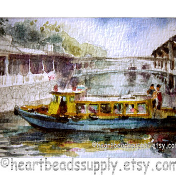 ACEO miniature art Boats, Changi Jetty Singapore painting wallart landscape id1340880 original watercolor, not a print, wall art, gift ideas