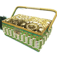 vintage 60s large sewing basket box storage container holder woven green white carpet lid hinged carrying handle satin lining tray tufted