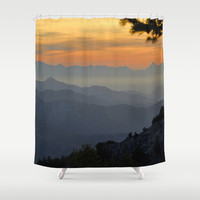 Mountains Shower Curtain by Guido Montañés