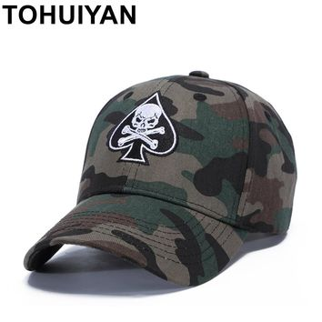 Trendy Winter Jacket TOHUIYAN Pirate Skull Embroideried Baseball Cap Camo Cotton Casquette Dad Hat Men Women Strapback Caps Hip Hop Snapback Hats AT_92_12