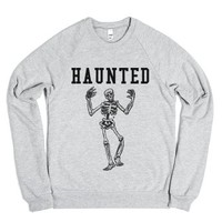 Haunted Halloween Sweatshirt-Unisex Heather Grey Sweatshirt