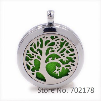 Tree of Life Steel+Alloy Perfume Essential Oil Aromatherapy Locket Diffuser with Magnetic Lock